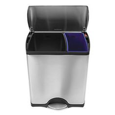 This is our kitchen trash can for all those who have ever asked.. It is also presently $129  (50 dollars off) @ The Container Store. We use the black side for recycling and the blue side for trash. We really like it! KT :-)
