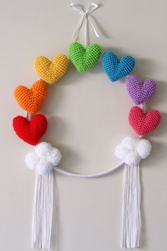 Large rainbow amigurumi heart wall hanging hoop with handmade pompom clouds Crochet Home, Crochet Gifts, Knit Crochet, Amigurumi Patterns, Crochet Patterns, Crochet Wreath, Crochet Wall Hangings, Rainbow Crochet, Crochet Decoration