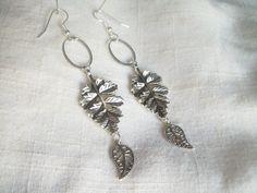 Branches and Leaves Earrings Dangle Earrings Silver by JypsyJewels
