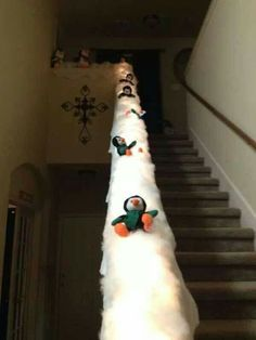 """""""SnowMuchXmasFun on a StairRail"""" .....decorate for Xmas"""
