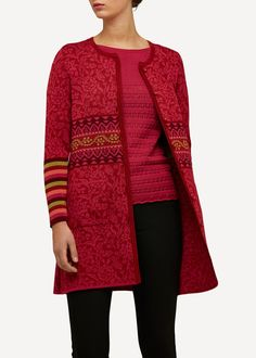 The Nordic Shop specializes in Oleana. Oleana Long Cardigan, With Pockets, Merino Wool, Silk. Made in Norway. Knitting Machine Patterns, Over 50 Womens Fashion, Silk Road, Folk Costume, Classic Collection, Red S, Long Cardigan, Fashion Brand, Knitwear