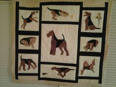 """BONUS WALL HANGING NO. 3 """"AIREDALE ATTITUDES"""" Designed and Made by Candy Kramlich"""