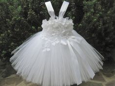 WHITE FLOWERS. TUTU Dress.  Christening Tutu Dress.  by ElsaSieron