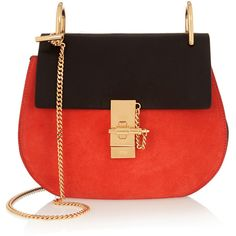 Chloé Drew small leather and suede shoulder bag (2,605 CAD) ❤ liked on Polyvore featuring bags, handbags, shoulder bags, leather shoulder bag, red leather handbag, leather purse, red handbags e chloe handbags