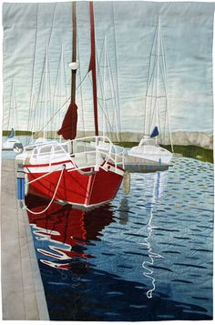 Quiet Reflections by Jane Appelbee.  Pictorial quilt, 2011 Malvern Quilt Festival.  Posted at Contemporary Quilt (UK)