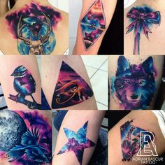 Adrian Bascur watercolor space tattoos