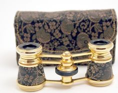 Broche Silk Opera Glasses with Matching Case Bag French Style 1970's