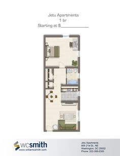 One Bedroom Floor Plan | Jetu Apartments in Northeast Washington DC | WC Smith #DCApartments | H St #Rentals