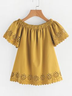 SheIn offers Laser Cut Scallop Trim Top & more to fit your fashionable needs. Stylish Dresses For Girls, Dresses Kids Girl, Girl Outfits, Girls Fashion Clothes, Girl Fashion, Simple Gown Design, Cute Casual Outfits, Casual Dresses, Kids Frocks