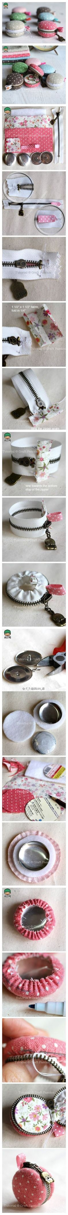 Un tutoriel de porte-monnaie en forme de macaron --- DIY Macaron Coin Purse-wow people are just so creative! Sewing Hacks, Sewing Tutorials, Sewing Patterns, Cute Crafts, Kids Crafts, Arts And Crafts, Fabric Crafts, Sewing Crafts, Sewing Projects