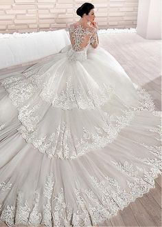 Buy discount Modest Tulle Scoop Neckline A-line Wedding Dress With Beaded Lace Appliques & Detachable Train at Dressilyme.com