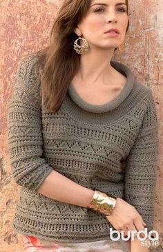 Ажурный пуловер с широким воротником - схема вязания спицами. Вяжем Пуловеры на Verena.ru