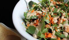 Ensalada verde con aliño de crema de almendras | #Receta de cocina | #Vegana - Vegetariana ecoagricultor.com