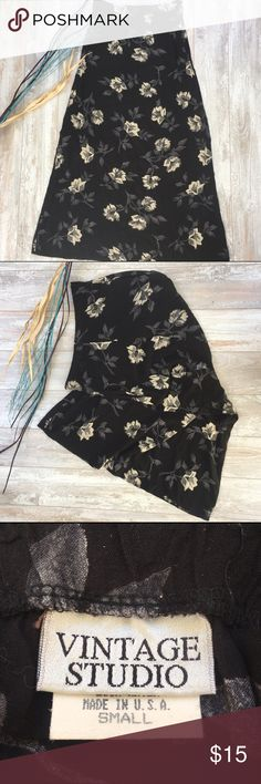 """Vintage Studio A-line Floral Skirt, Elastic Back Material: 100% Rayon, Dry Clean Only, length 37"""", Waist 28"""", Excellent Used Condition Vintage Studio Skirts A-Line or Full"""