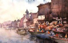 water paint art of Varanasi ghats painting Watercolor Artwork, Watercolor Artists, Water Paint Art, Cities, Indian Contemporary Art, Online Painting, Paintings Online, Indian Artist, Fashion Painting