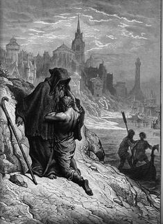 """Gustave Dore's illustration of """"Shrieve me, Holy Man"""" - the scene in Coleridge's Rime of the Ancient Mariner"""