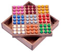 Farb Sudoku - Steckspiel - Denkspiel - Knobelspiel - Geduldspiel - Brettspiel aus Holz mit farbigen Steckern