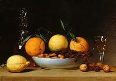 This is a painting from the 18th century that has a lot of fruits EG. Oranges lemons. This has a brown background with a glass next to the bowl