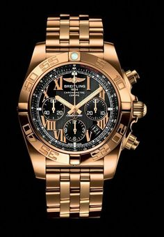 The Breitling Chronomat 44 in Rose Gold. The self-winding chronograph watch is in rose gold case with an onyx black dial. Breitling Chronomat, Dream Watches, Fine Watches, Cool Watches, Men's Watches, Breitling Watches Women, Citizen Watches, Stylish Watches, Luxury Watches For Men