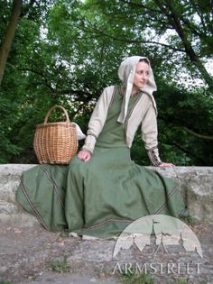 Countrywoman Medieval Dress Tunic Garb with Surcoat and Medieval Hat. $212.00, via Etsy.