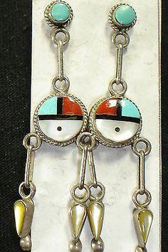 Zuni Inlay Sterling Silver Multi Stone Dangle Earrings Native American Dead Pawn | eBay $39.33 Buy it Now