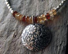Natural Brown Topaz Necklace - Topaz and Silver Necklace - Silver Pendant - Floral Pendant - Silver Necklace - Boho Jewelry - Engraved. $63.00, via Etsy.