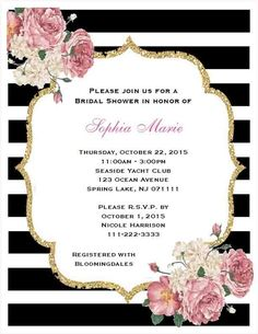 Beautiful Black and white Stripe Bridal Shower invitation - classy and elegant for today's modern bride