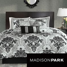 @Overstock.com - Madison Park Larissa 7-piece Comforter Set - For a more contemporary look, the Madison Park Larissa Collection is perfect for the home. A grey damask print is printed on polyester and paired with black damask flocking for a three-dimensional look to the comforter and shams. http://www.overstock.com/Bedding-Bath/Madison-Park-Larissa-7-piece-Comforter-Set/8433919/product.html?CID=214117 $109.99