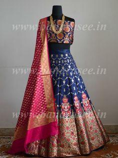 Banarasee Handwoven Art Silk Unstitched Lehenga & Blouse Fabric With Meena Work-Deep Blue Brocade Lehenga, Raw Silk Lehenga, Banarasi Lehenga, Silk Dupatta, Patiala, Anarkali, Lehnga Dress, Lehenga Blouse, Indian Dresses