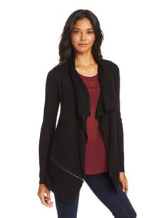 Kenneth Cole Women's Maribeth Sweater, Black,X-Large Cardi. Zipper detail.