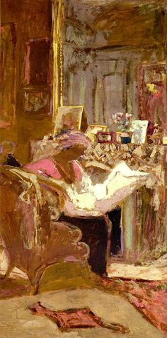 Madame Hessel Reading her Paper by the Fireplace (study) / Edouard Vuillard - 1917