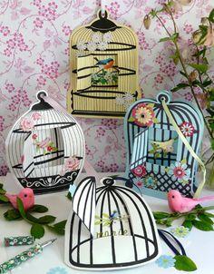 Beautiful bird cages fun spring decor  Printable  Skabeloner til fuglebure