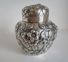 S. Kirk & Son Co. Floral Repousse TEA CADDY Sterling Silver pattern #13 #KirkSon