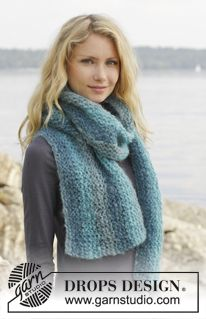 "Knitted DROPS scarf in garter st in ""Verdi"". ~ DROPS Design - simple but great example of how a fabulous yarn can do all the work!"