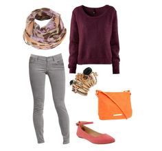 Knit Pullover Sweater + Gray Skinny Jeans + Floral Scarf + Crossbody Bag + Ankle Strap Ballet Flats + Stacked rings