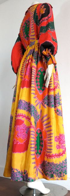1970s GEOFFREY BEENE Silk 'Bohemian' style long dress   From a collection of rare vintage day dresses at https://www.1stdibs.com/fashion/clothing/day-dresses/
