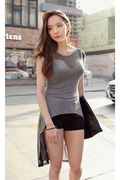 Grey Sassy Swan Blouse with Fashionable Mesh Insert $17.78
