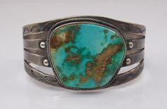 "Vintage Southwest Navajo Sterling Silver Turquoise Cuff Bracelet 7"" (#3698) #Unbranded"
