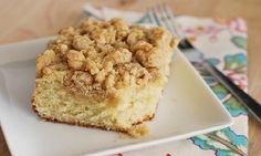 Brown sugar cake with a crumb topping that pairs amazingly with your cup of coffee.