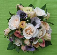 bridal bouquet with anemone | pastel bridal bouquet of anemones, tulips, rose vendela and ... | wed ...