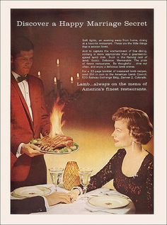 For a happy marriage, woo her with lamb on fire (1961).