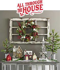 A Christmas town and other decorations Christmas Town, Christmas Mantels, Rustic Christmas, All Things Christmas, Vintage Christmas, Christmas Holidays, Christmas Wreaths, Country Christmas Decorations, Christmas Table Settings