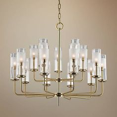"""Hudson Valley Wentworth 31"""" Wide Aged Brass Chandelier - #1F572 
