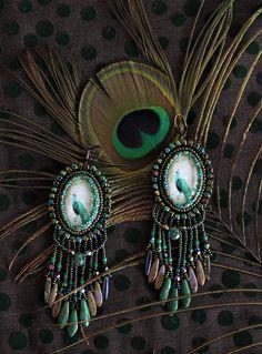 Earrings with peacocks.