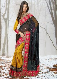 #Yellow & Black #DesignerSaree  Check out this page now :-http://www.ethnicwholesaler.com/sarees-saris