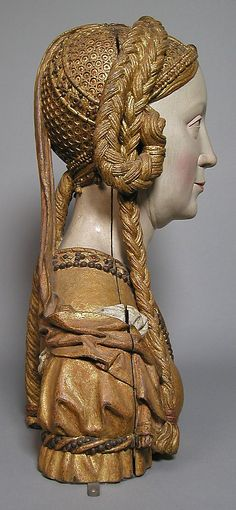 Reliquary Bust of a Female Saint  Date:ca. 1520–30Geography:Made in, possibly Brussels, BelgiumCulture:South NetherlandishMedium:Oak, paint, gilt