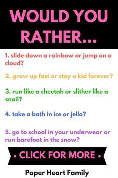 Make the most of your next family game night, road trip, classroom free time or family dinner time with these funny would you rather questions for kids. These are great conversation starters to get your kids thinking critically and laughing too! Silly Questions To Ask, Would You Rather Questions, This Or That Questions, Questions For Girls, Couple Games, Family Games, Family Family, Group Games, Text Conversation Starters