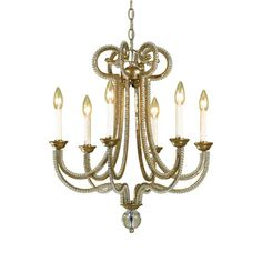 Cast a warm glow in the den or dining room with this scrolling chandelier, featuring glass beads and a gold finish.        Product:...