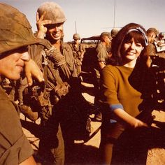 Playboy bunny Jo Collins visting the 173rd Airborne in Vietnam, 1966.