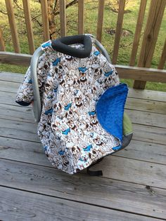 Soft Fleece and minky dog party baby boy car seat by BBsBanners